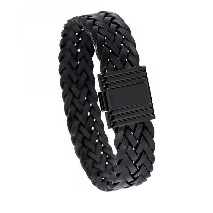 Bracelet homme cuir noir plat - Di-Angelo