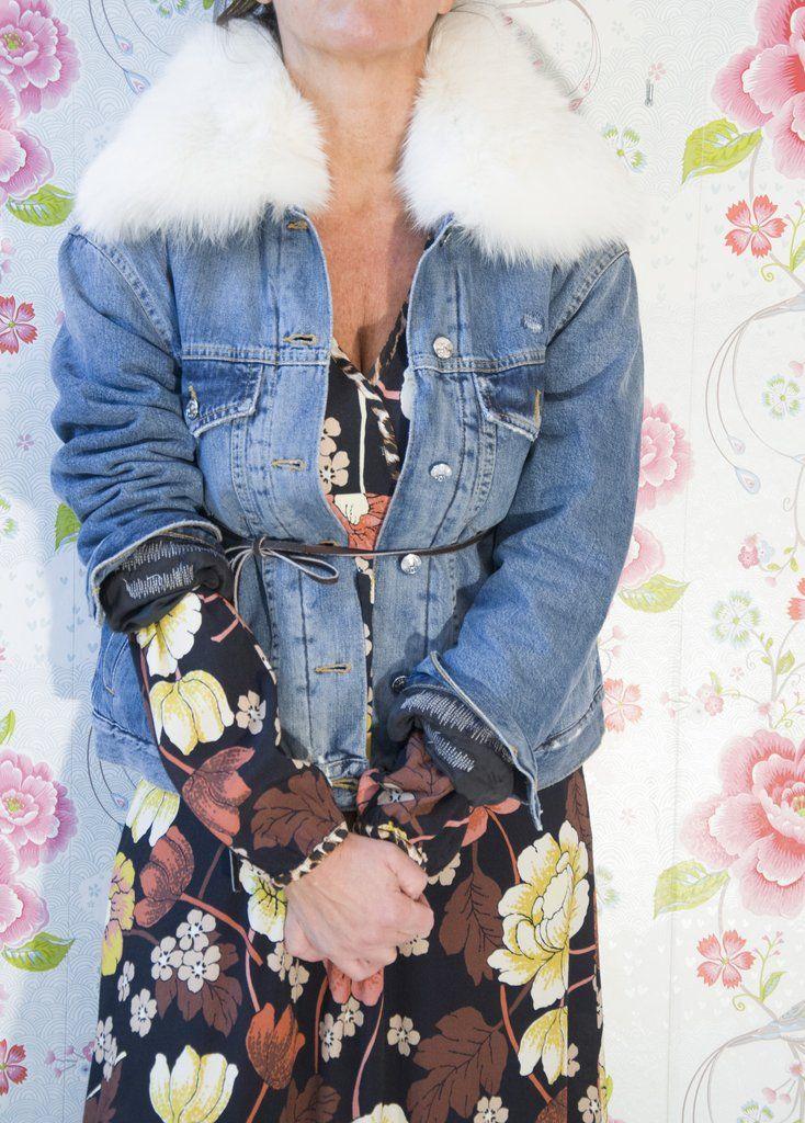 People -Giubbotto Jeans collo pelliccia