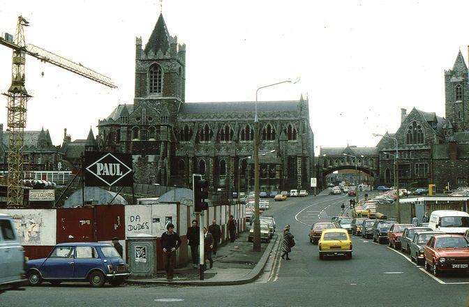 Christchurch from Wood Quay Winetavern St, Dublin, Co. Dublin, Ireland 1978 - 1980
