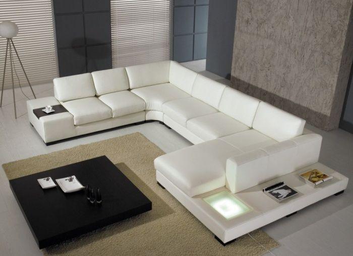 Moderne Ecksofa-Garnitur in U-Form Weiß, schwarzer Couchtisch