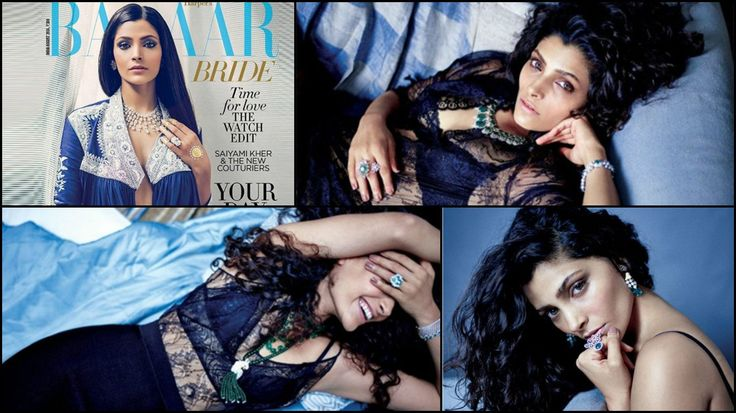"""Saiyami Kher who is making her debut in Rakesh Om Prakash Mehra movie Mirzya has blown our minds with how stunning she looks on the cover of Harper's Bazaar. For this cover, she was dressed in an abaya style top paired with a lehenga from Rahul Mishra. Also contrasting yellow imitation henna on her hands. … Continue reading """"Check Out: Saiyami Kher Looks Tempting in Blue"""""""