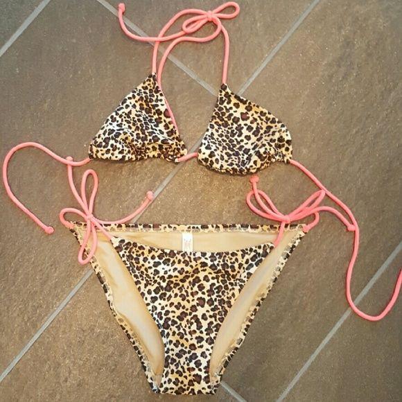 Leopard Bikini Leopard Bikini with bright neon straps Victoria's Secret Swim Bikinis