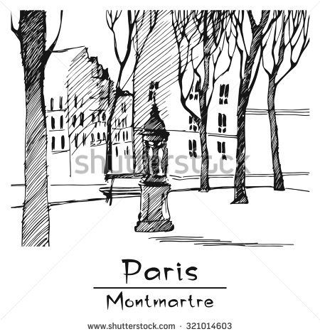Paris. Montmartre. Vector Image.  Hand-drawing. Image - one combined object