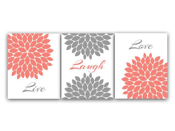 Home Decor Wall Art Live Laugh Love Coral Wall by WallArtBoutique, $20.00