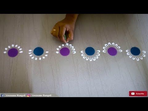 New Creative and Unique easy border rangoli design using bangles for festivals and doors ! - YouTube