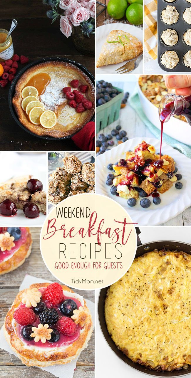 Easy Weekend Breakfast Recipes good enough for guests and perfect for any holiday brunch. Visit TidyMom.net for all the recipes.