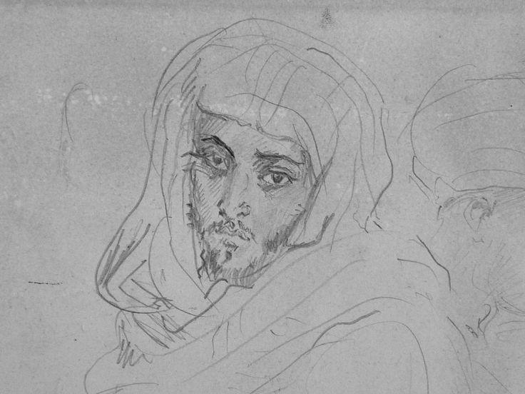 CHASSERIAU Théodore,1846 - Deux Arabes assis - drawing - Détail 04 - Dignité triste - Sad dignity -