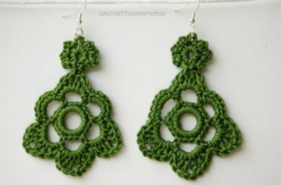 orecchini crochet fiore grande verde orecchini filato di cotone italiano uncinetto