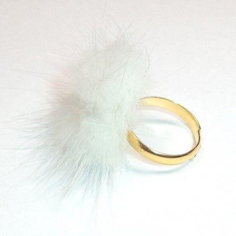 White mink fur ring 17mm - Golden - Natural fur