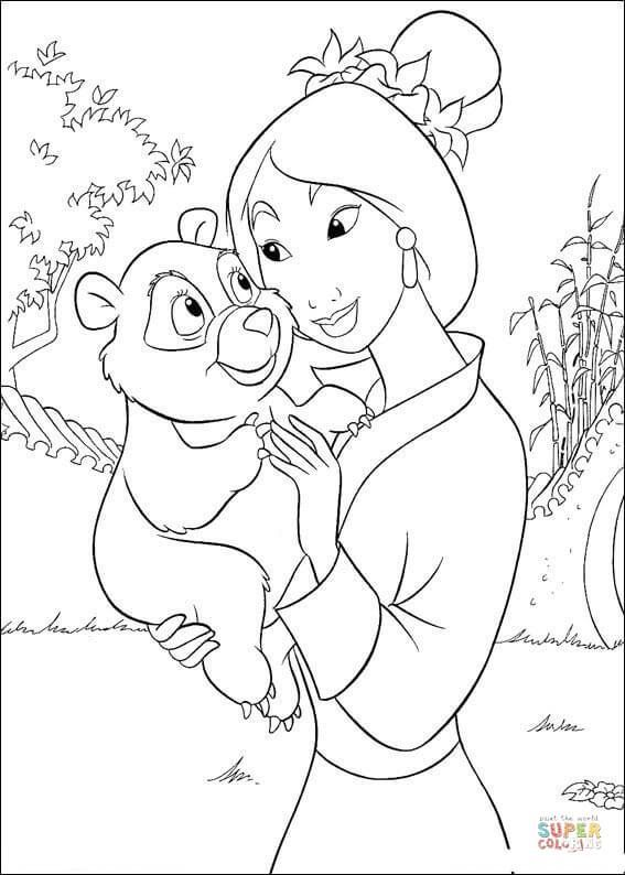 Mulan With A Little Bear Super Coloring Disney Coloring Pages Disney Princess Coloring Pages Princess Coloring Pages
