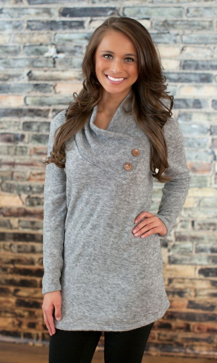 The Pink Lily Boutique - Grey Button Sweater, $32.00 (http://thepinklilyboutique.com/grey-button-sweater/)