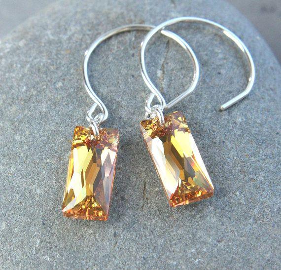 Yellow  Swarovski Earrings Crystal Jewelry Golden Crystal
