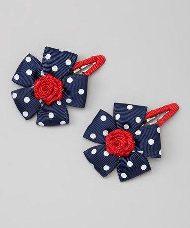 Love this Navy & Red Flower Snap Clip Set on #zulily! #zulilyfinds