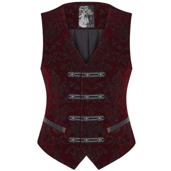 Punk Rave Mens Vest Waistcoat Red Damask Velvet Gothic Steampunk... ❤ liked on Polyvore featuring men's fashion, men's clothing, men's outerwear, men's vests, mens red velvet vest, mens red waistcoat, mens vest, mens steampunk vest and mens red vest