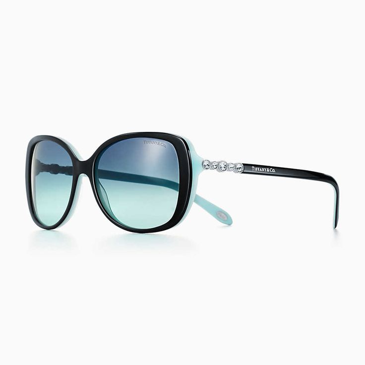 Tiffany Enchant cat eye sunglasses in black and Tiffany Blue acetate. | Tiffany & Co.