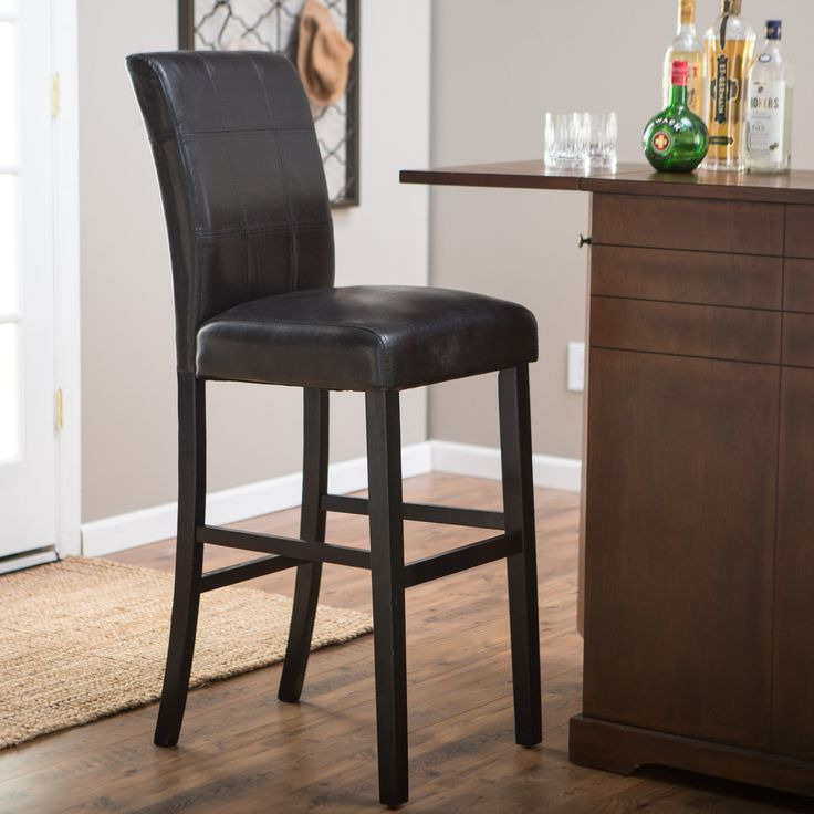 Palazzo 34 Inch Extra Tall Bar Stool - Black - A sleek, contemporary addition to your home bar or kitchen counter, the Palazzo 34 Inch Bar Stool - Black also provides comfortable seating fo...
