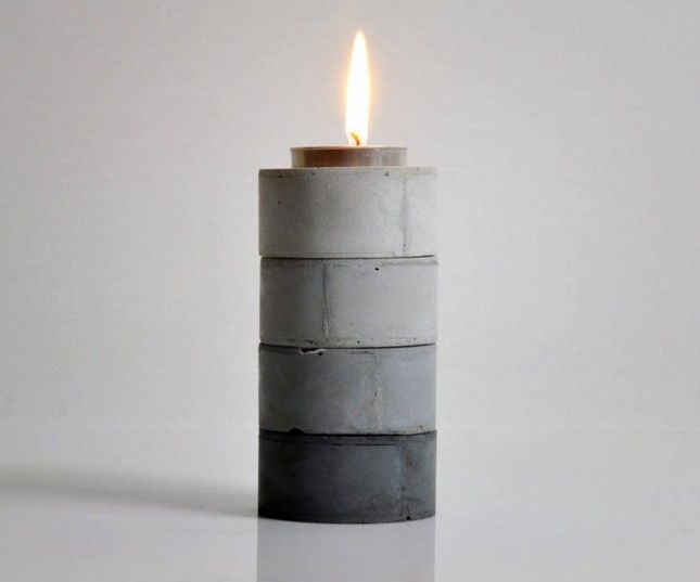Ombre Tea Light Holders: Add a little darker concrete or powder pigment to create different shades of concrete.