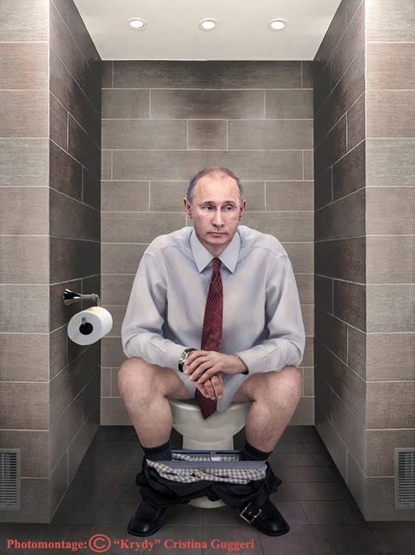 L'artiste Chritina Guggeri a eu l'excellente idée de créer des photomontages avec les puissants de ce monde assis chacun sur leur trône respectif.