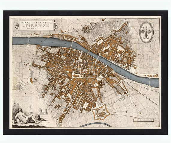 Old Map of Florence Firenze 1847 Antique Vintage by OldCityPrints, $46.00
