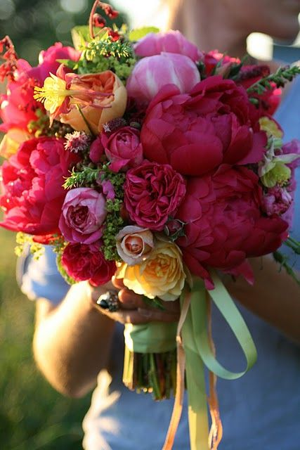 Coral charm peonies mixed with tangerine, pinks and pops of spring green!  http://floretflowers.blogspot.com/2011/03/peony-paradise.html?spref=fb