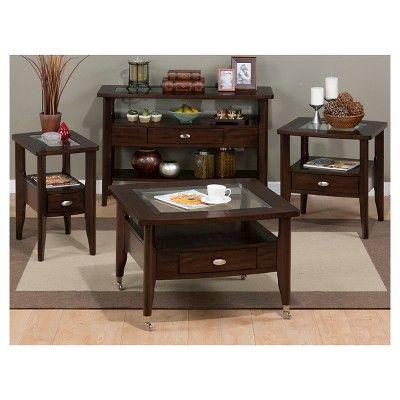 Montego Merlot Sofa Table/Media Console Cherry - Jofran Inc.