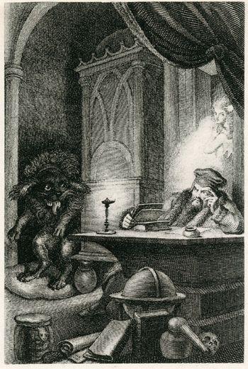 Johann Heinrich Ramberg, Zeichnungen zu Goethes Faust, Studierzimmer, Faust und der Pudel, Kupferstich von Th. Blaschke