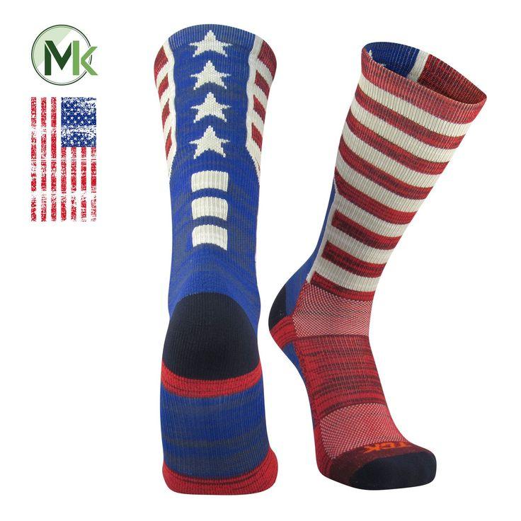 TCK® USA Old Glory Flag, Heather, Red White Blue, Basketball Football Crew Socks