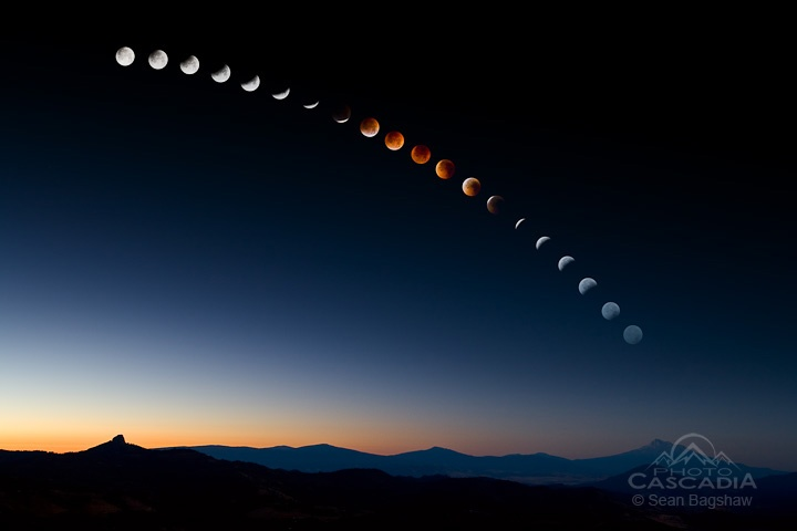 Lunar Eclipse Over Mt. Shasta - California    By Sean Bagshaw