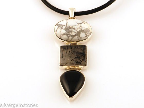 Sterling Silver Gemstone Designer Pendant Onyx Black Rutile and Howlite RRP $155 Buy on Ebay Promotion only $85 with Free Shipping to Australia. $10 Internationally