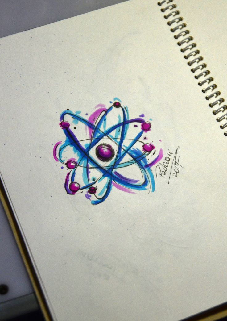 atom - watercolor tattoo sketch - Thiago Padovani