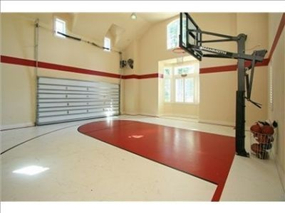82 best images about home basketball courts on pinterest for Basketball garage