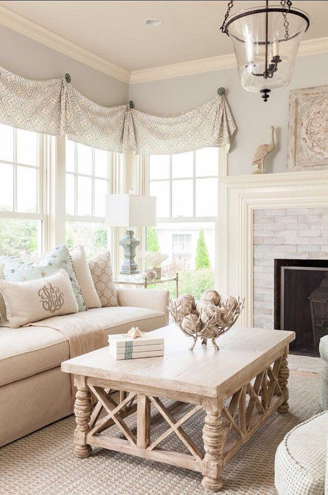 Coastal farmhouse. Valance hung with decorative knobs