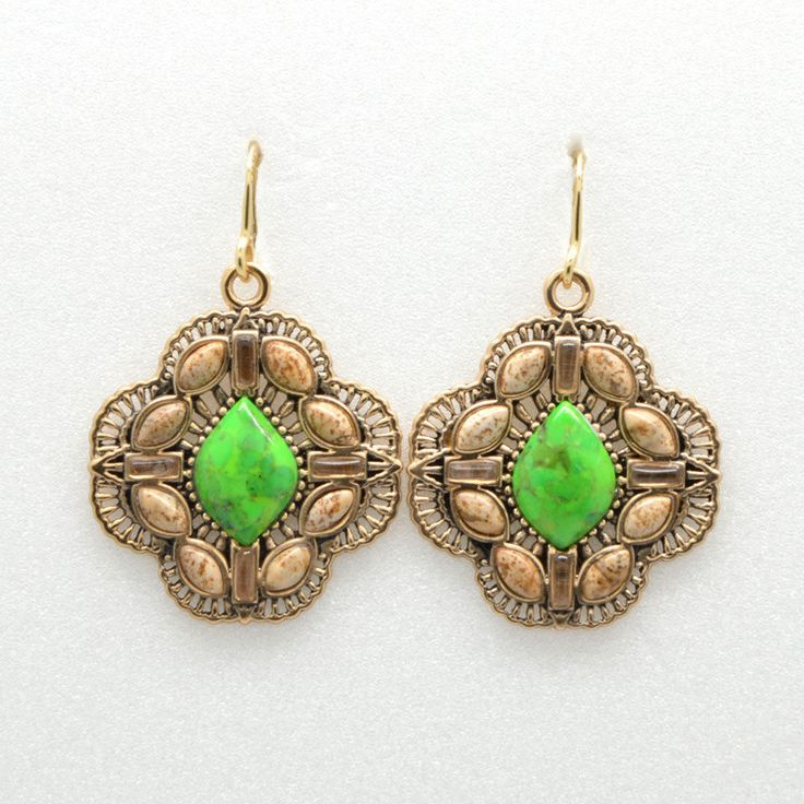 Barse Jewelry Genuine Lime Turquoise and Jasper Bronze Earrings