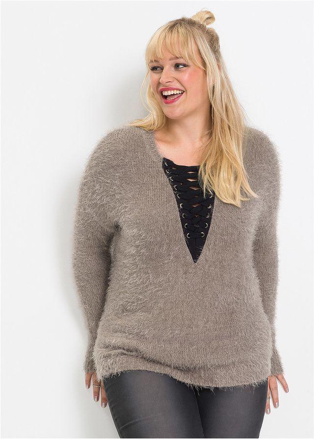 Sweter dzianinowy ze sznurowaną wstawką • 109.99 zł • bonprix