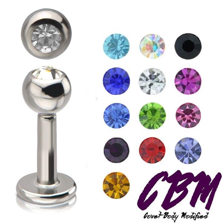 Body Piercing Jewelry 32050: 16G 3/8 Gem Stainless Steel Labret Lip Monroe Tragus Ring Stud Medusa Piercing BUY IT NOW ONLY: $175.95