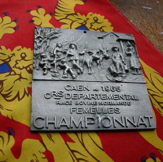 French Cattle Award Trophy Plaque 1965 Normandy by thehankyheiress