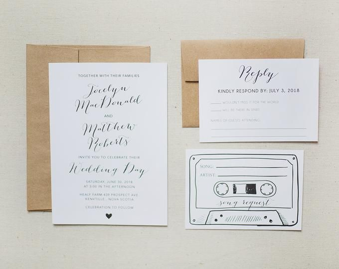50 Printed Cassette Tape Song Request Rsvp Cards Customized With Your Wedding Rsvp Date Cassette Tapes Song Request Wedding Rsvp