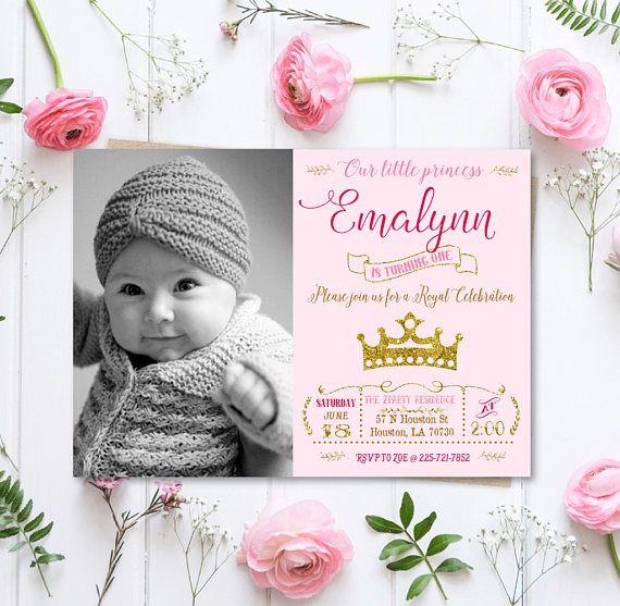 Princess Birthday Invitation girl birthday invitation Gold