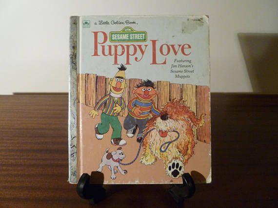 "$8  Vintage 1983 Sesame Street's ""Puppy Love"" - A little Golden Book / Kids Book / Jim Henson's Muppets / Ernie and Bert"
