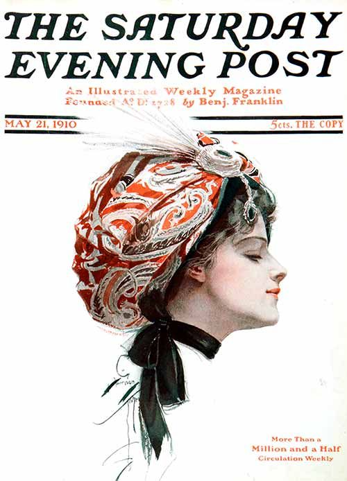 """""""Paisley Turban"""" by Harrison Fisher 1910. Classic Covers: Harrison Fisher 