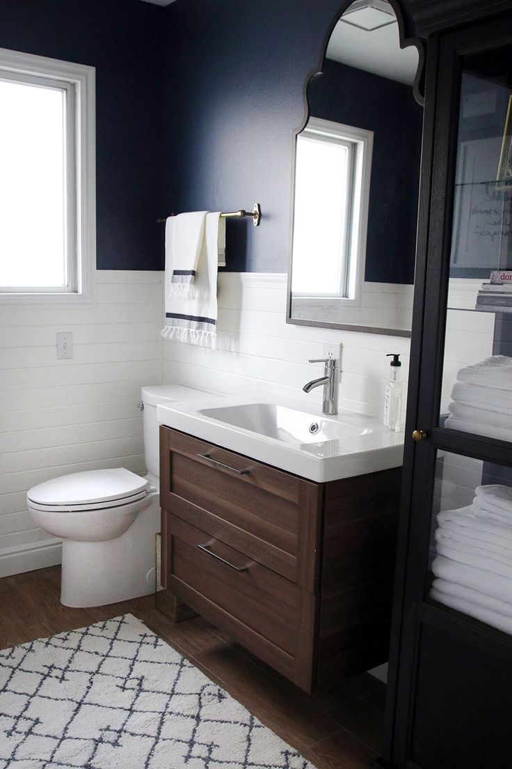 Best 25 navy bathroom ideas on pinterest navy cabinets copper bathroom and apartment color - Ikea bathrooms images ...