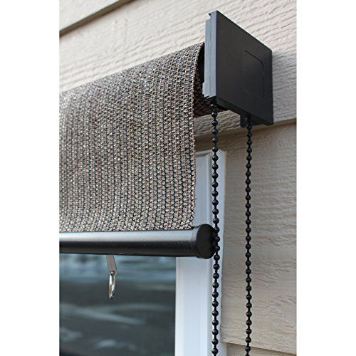 baja exterior roll up solar shade by cabo sand keystone fabrics silver series exterior rollup solar shade if the sun heats up your home or patio - Patio Sun Shades