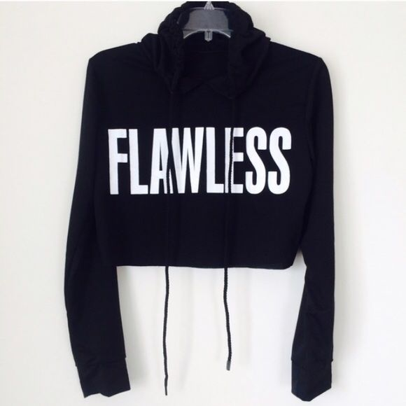 FLAWLESS HOODIE Black lightweight cropped hoodie. New! Retail! Size medium. NO TRADES OFFERS WELCOME! Tops Crop Tops