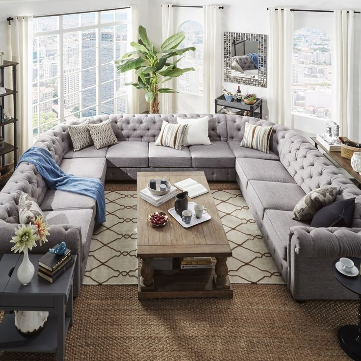Knightsbridge Tufted Scroll Arm Chesterfield 11 Seat U Shaped Sectional By Signal Hills