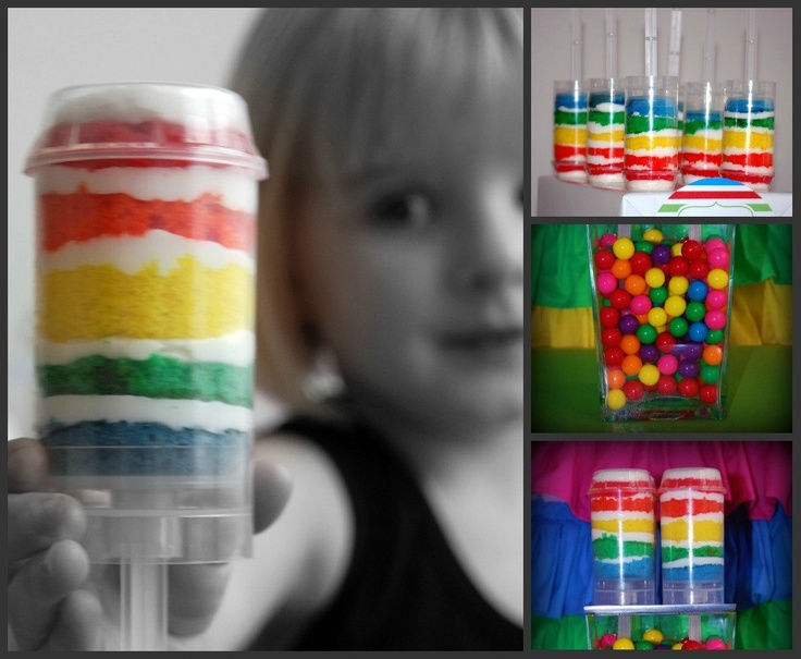 Push Up Containers: Themed Birthday Parties, Theme Birthday Parties, Art Parties, Push Pop Cupcakes, Push Pop Cakes, Push Cakes, Rainbows Cakes, Push Up, Rainbows Push