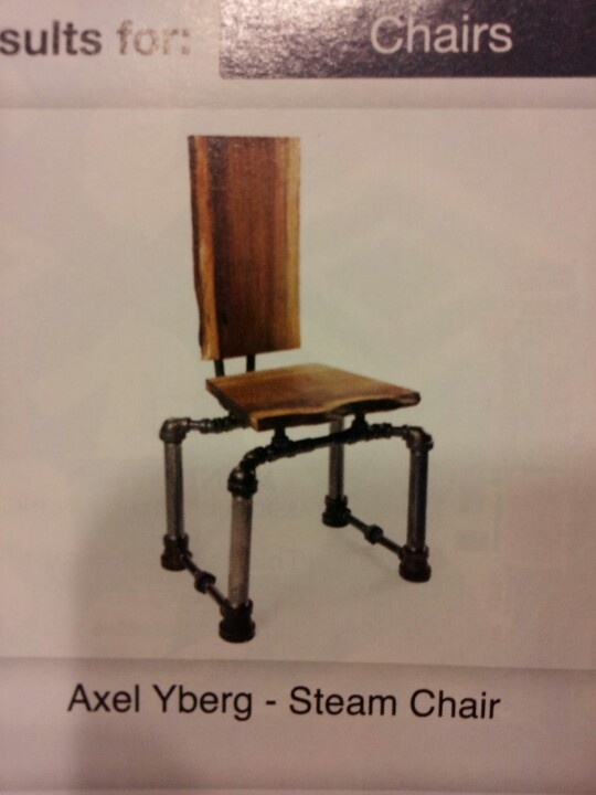 Black Pipe Wood Slab Chair Chairs Plumbing Pipe