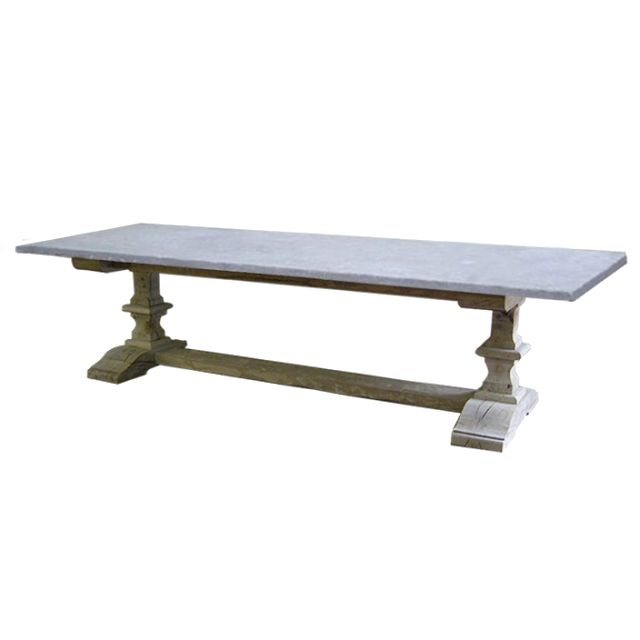 Desiree Monastery table with flamed blue stone top . malvini belgium - 10 feet long dining table