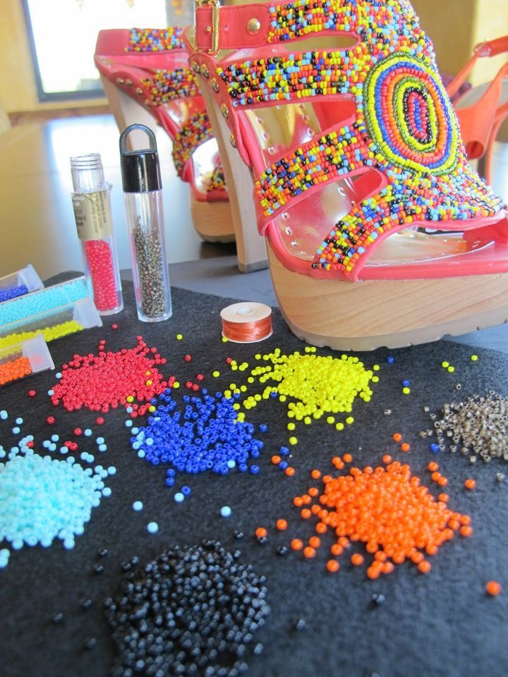 how to decorate w/beads; summer sandals