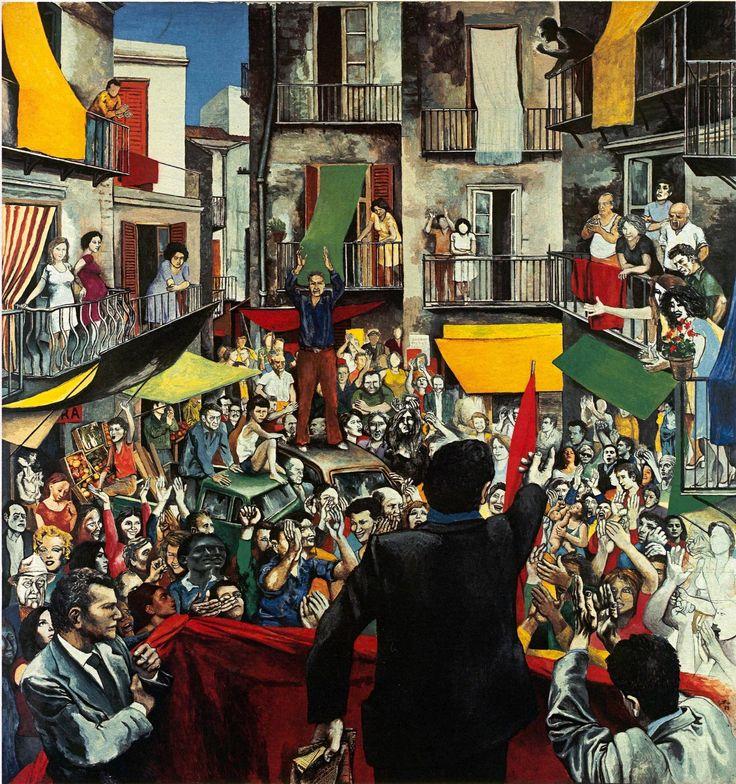 Renato Guttuso's Neighbourhood Rally, 1975. Acrylic and collage on paper, 210 x 200 cm. Photograph: Courtesy Galleria d'Arte Maggiore, Bologna