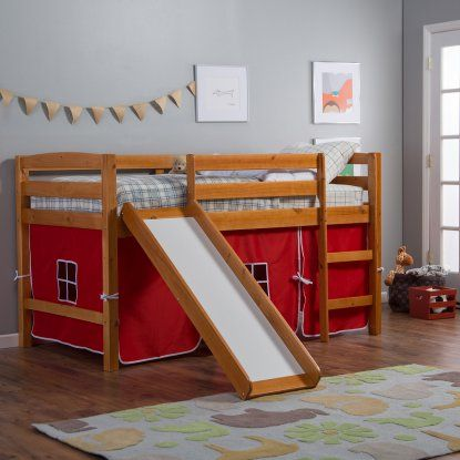 Pine Ridge Tent Twin Loft Bed with Slide - Honey